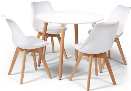 Toulouse Tulip Eiffel Designer Dining Set White Round Table & 4 White Chairs Sale Now On Your Price Furniture